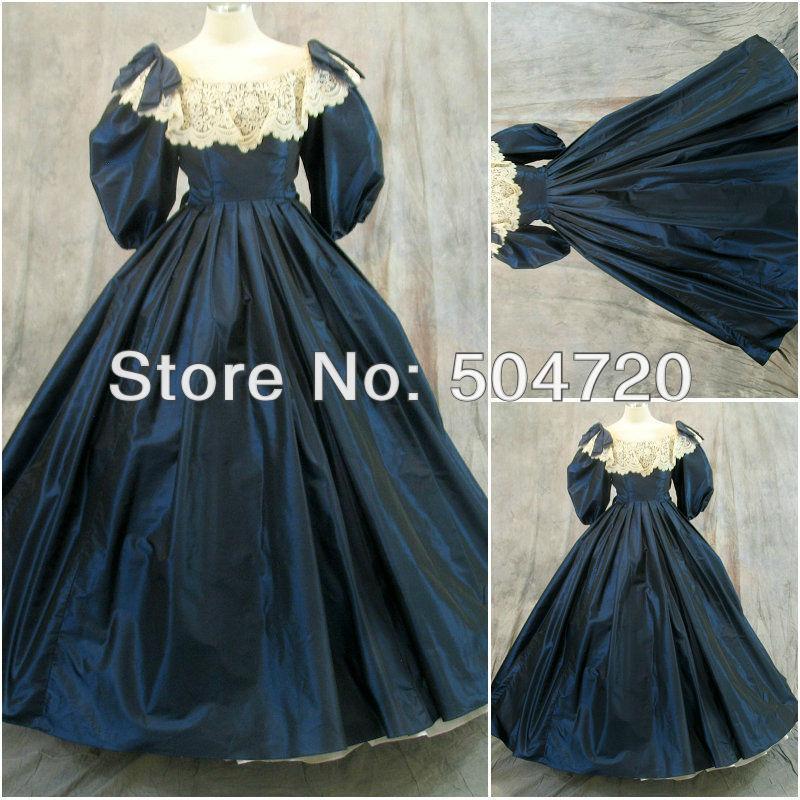 Freeshipping!1800S Blue Civil War Southern Belle Ball Gown Victorian dresses/scarlett dress Sz US6-26 V-221Îäåæäà è àêñåññóàðû<br><br>