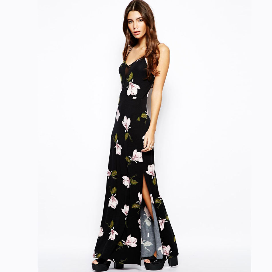 2016 new women Summer fashion orchid floral print bohemian dress sexy backless maxi long strap dresses SD2885