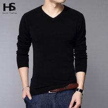 New Fashion Slim Fit Sweater Men Classic Pure Black Pullover Men Solid Color V-Neck Pull Homme Cashmere Wool Sweaters Shirt 6638(China (Mainland))
