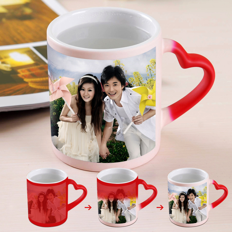 Custom Coffee Mug Heart Shape Handle Sublimation Mug Magic cup Coffe Cup Heat Sensitive Mugs Personalized Mug 300ml Wholesale(China (Mainland))