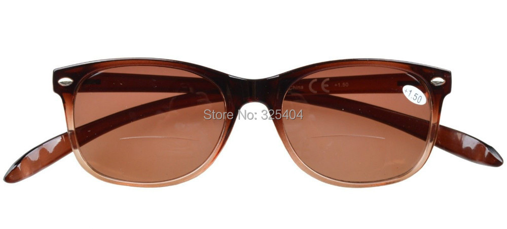 FR007 Bifocal Free Shipping Quality Wayfarer Style Long Arms Bifocal Reading Glasses Brown Lens 1 0