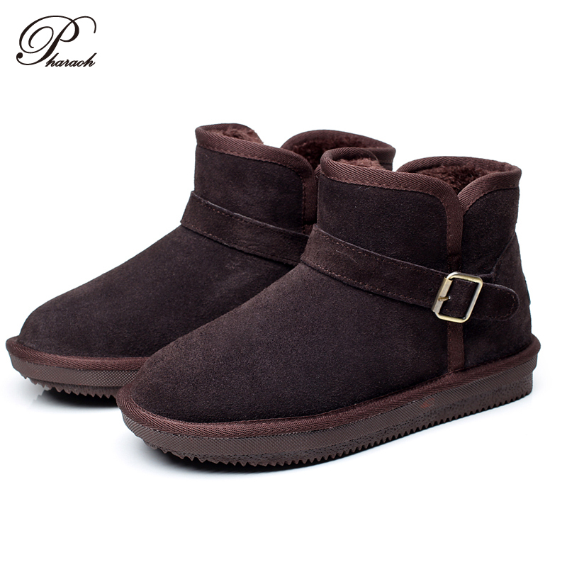 fashion buckle real genuine leather winter shoes mens