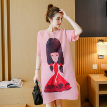 European and American style plus size short sleeve beauty girl printed cotton linen dress good quality maternity long loose tees(China (Mainland))