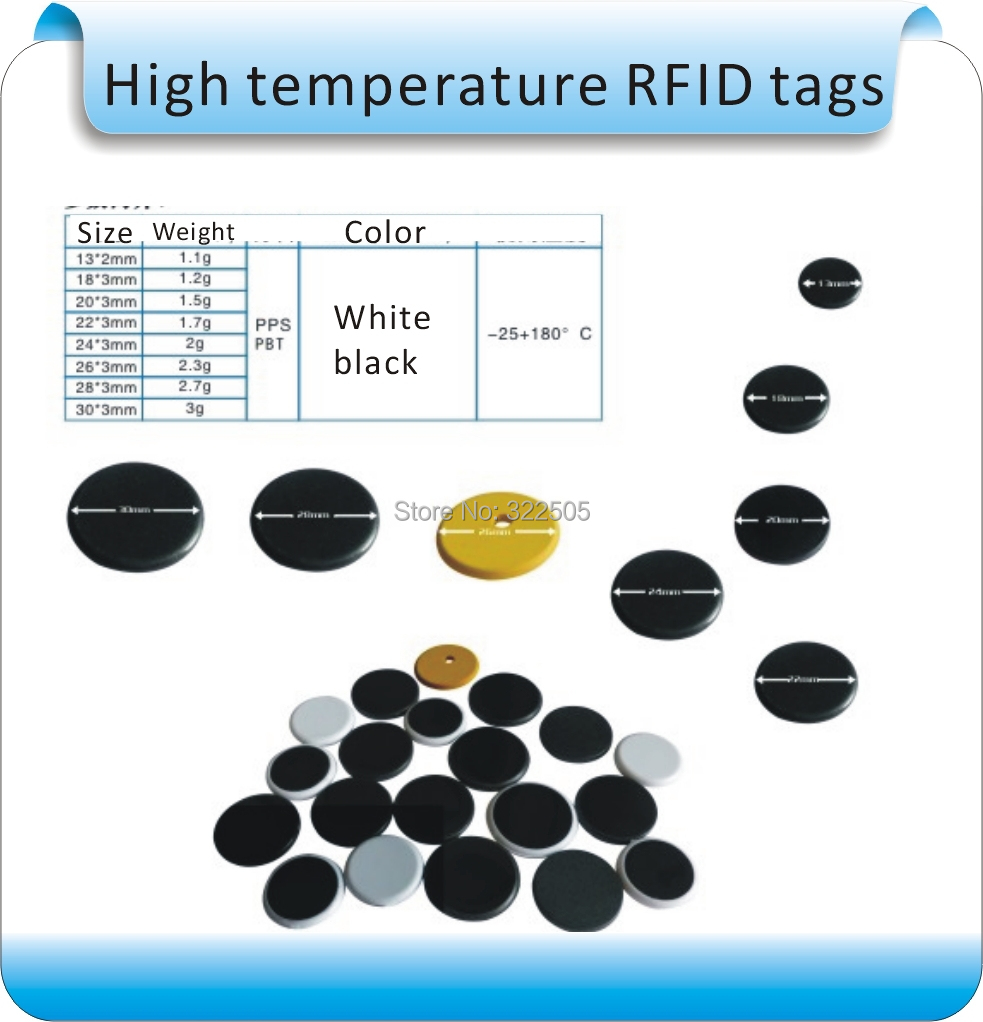 Free shipping 100pcs 125KHZ EM4305 / T5577 RFID laundry tags, RFID high temperature electronic/Corrosion resistant tags