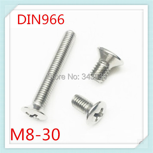 50PCS DIN966  Stainless Steel 304 M8*30 Cross Recessed Countersunk raised head screws (the oval head screw)<br><br>Aliexpress