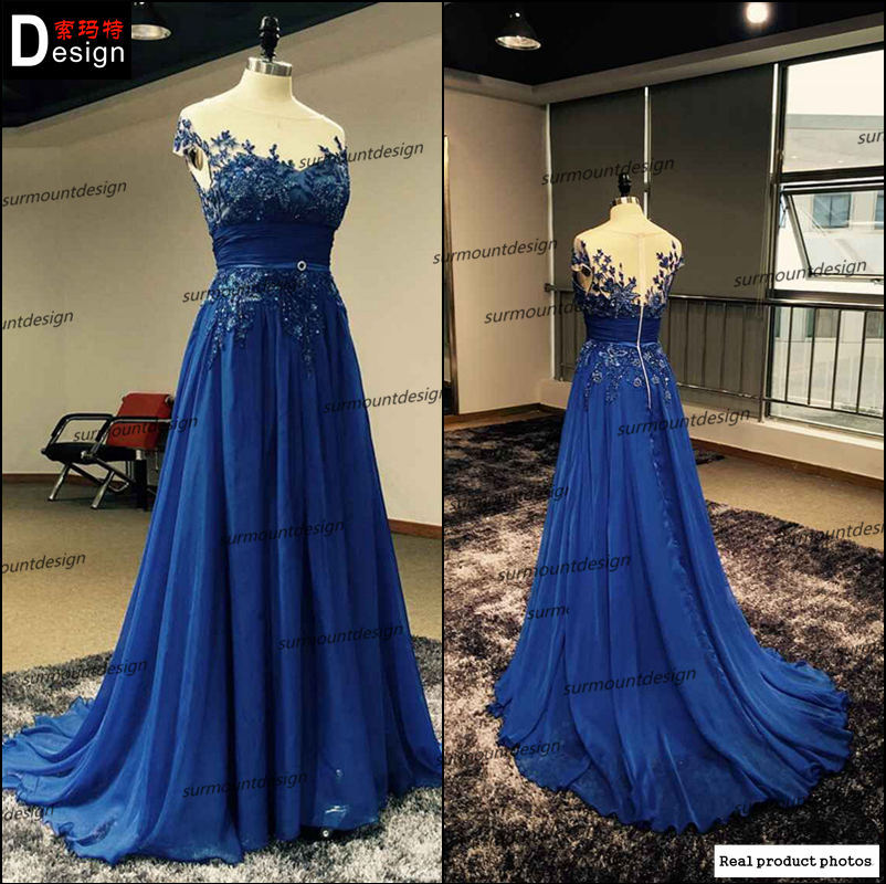 New Design Elegant Long Evening Dress 2016 buleTulle Appliques Beaded scoop Neck Formal Evening Dresses Prom Party Gown(China (Mainland))