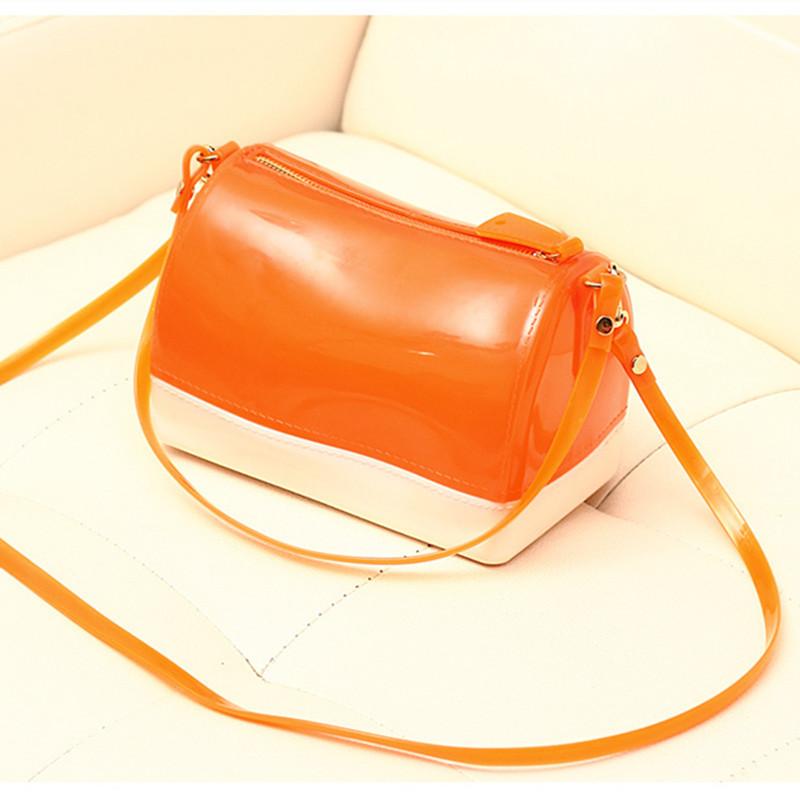 2015 Women Messenger Shoulder Bag Fashion Crossbody Bags Ladies Gir Orangel Candy Jelly Pillow Transparent Beach Tote Handbags(China (Mainland))