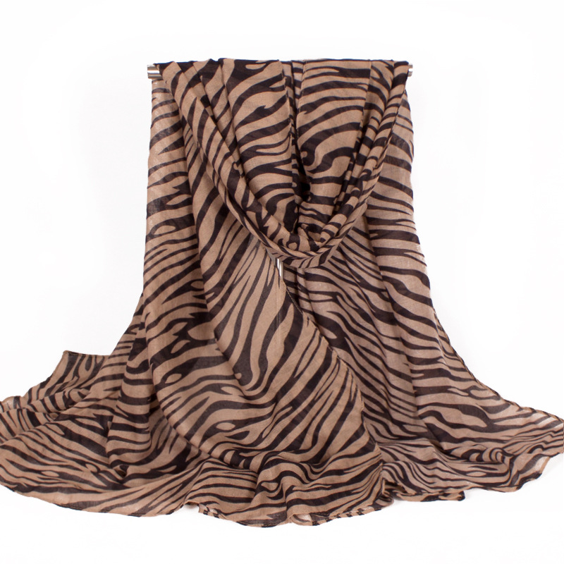 Soft Polyester Scarf Women Brown Black Zebra Strips Striped Women Shawl Scarves Wrap Size 180*110cm No.040202079(China (Mainland))