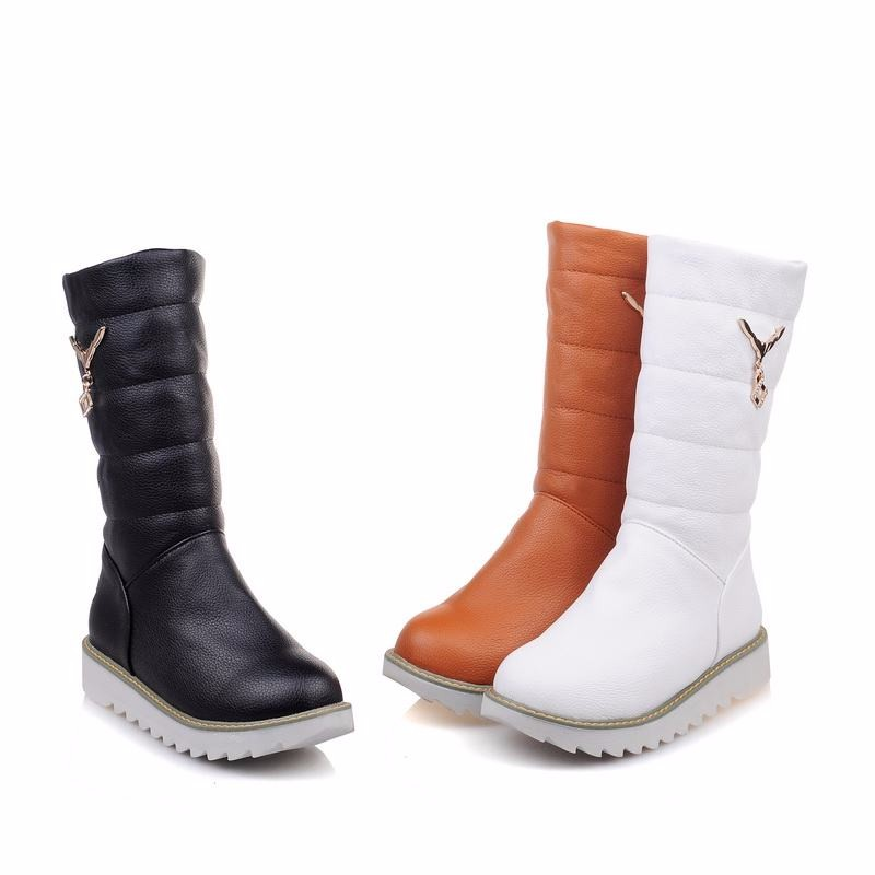 WETKISS Big Size 33-44 Metal Charm Platform Slip On Snow Boots Plush Russia Warm Winter Boots Concise Popular Flat Shoes Woman