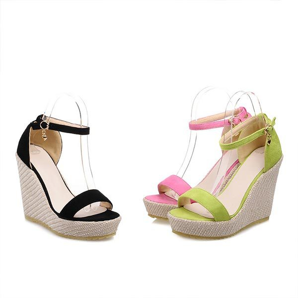 2015 summer fashion peep toe buckle wedge heels solid color wedge heels breathable and comfortable women shoes D1515<br><br>Aliexpress