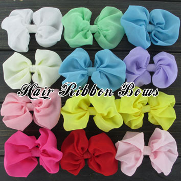 """39pcs/lot 4"""" Large Solid Chiffon Hairbow Baby Boutique Hair Bow For Toddler Bows Hair Accessories Baby Headbands Bow(China (Mainland))"""