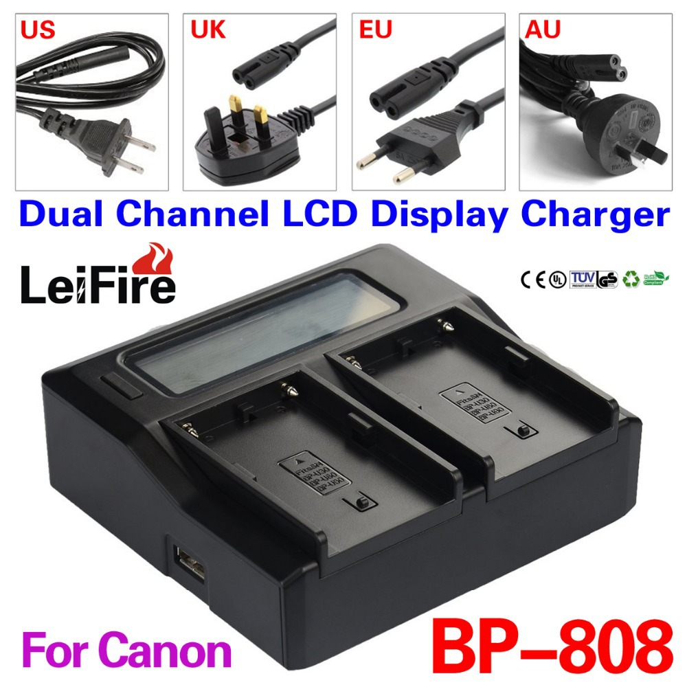 Dual Channel LCD Display Charger Canon BP-808 BP808 BP809 BP819 BP827 Camera Battery charger - JUSTDO store