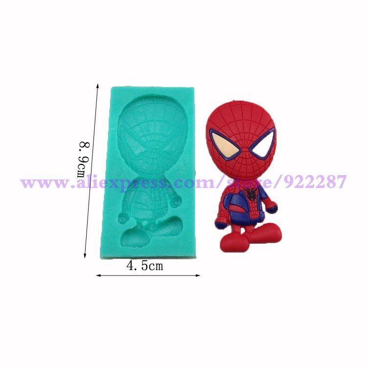Cute spider man shape 3d fondant cake silicone molds for cake decorations candy chocolate mold cake designe tools(China (Mainland))