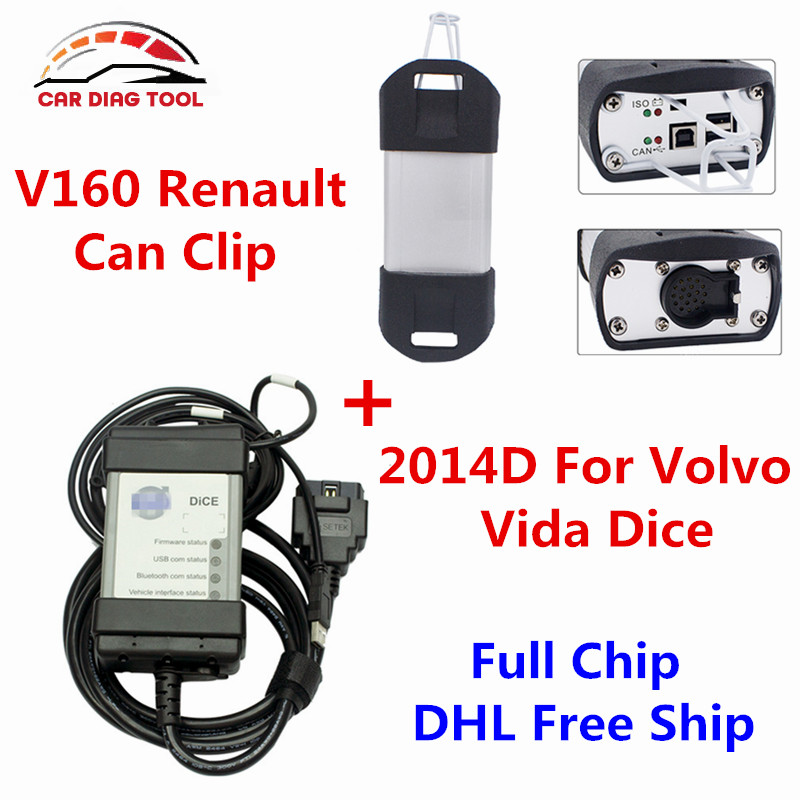 2016 Best Match Renault Can Clip V160 + Full Chip Volvo Vida Dice 2014D OBD2 Diagnostic Tool With Green PCB Board DHL Free Ship(China (Mainland))