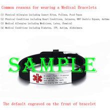 Vnox Engravable רפואי התראת מזהה צמיד סוכרת אפילפסיה אלצהיימר אלרגיה SOS נשים גברים אישית תכשיטים(China)