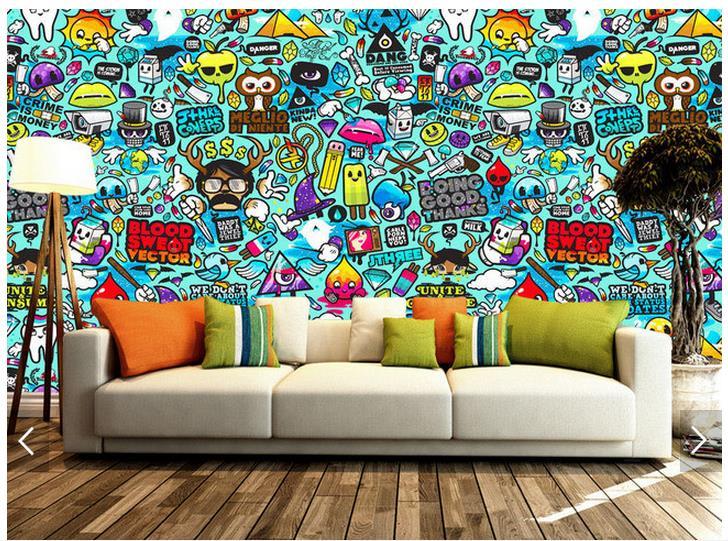 3d photo wallpaper custom 3d wall murals wallpaper Setting wall graffiti hand-drawn cartoons wall paper 3d living room wallpaper(China (Mainland))