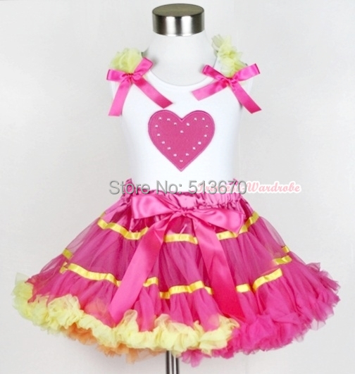 Hot Pink Yellow Rainbow Pettiskirt VALENTINE Hot Pink HEART White Top Set 1-8Y MAPSA0216(Hong Kong)