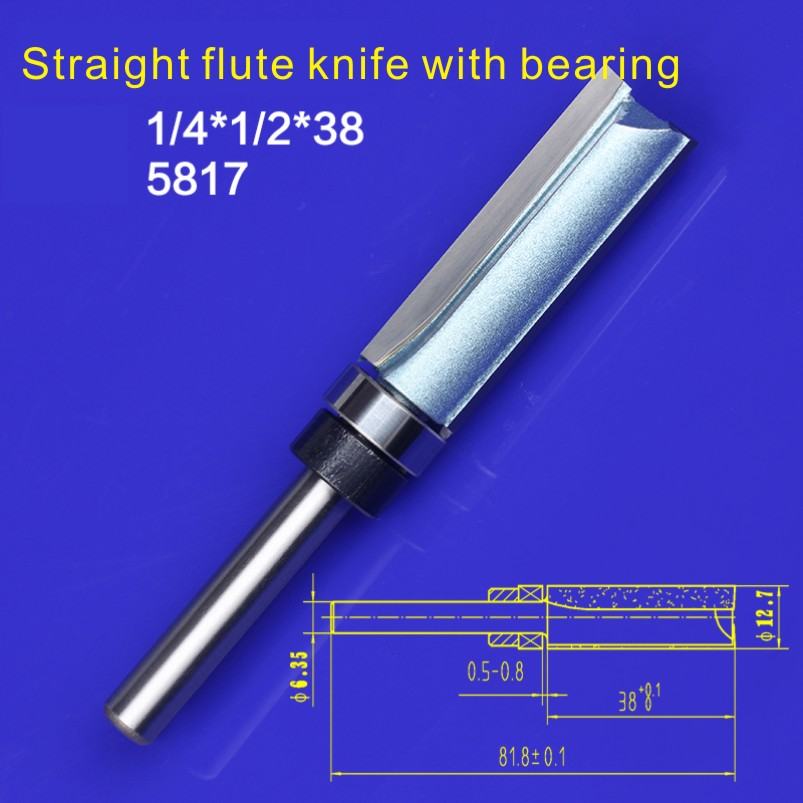 1pc 1/4*1/2*38 trimming cutters with bearing furniture carving milling cutter wood working tools end mill router bits 5817(China (Mainland))