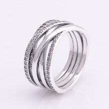 Authentic 925 Sterling Silver classic lines intertwined rings with Cz Pandora compatible charm for Women Jewelry Free Shipping