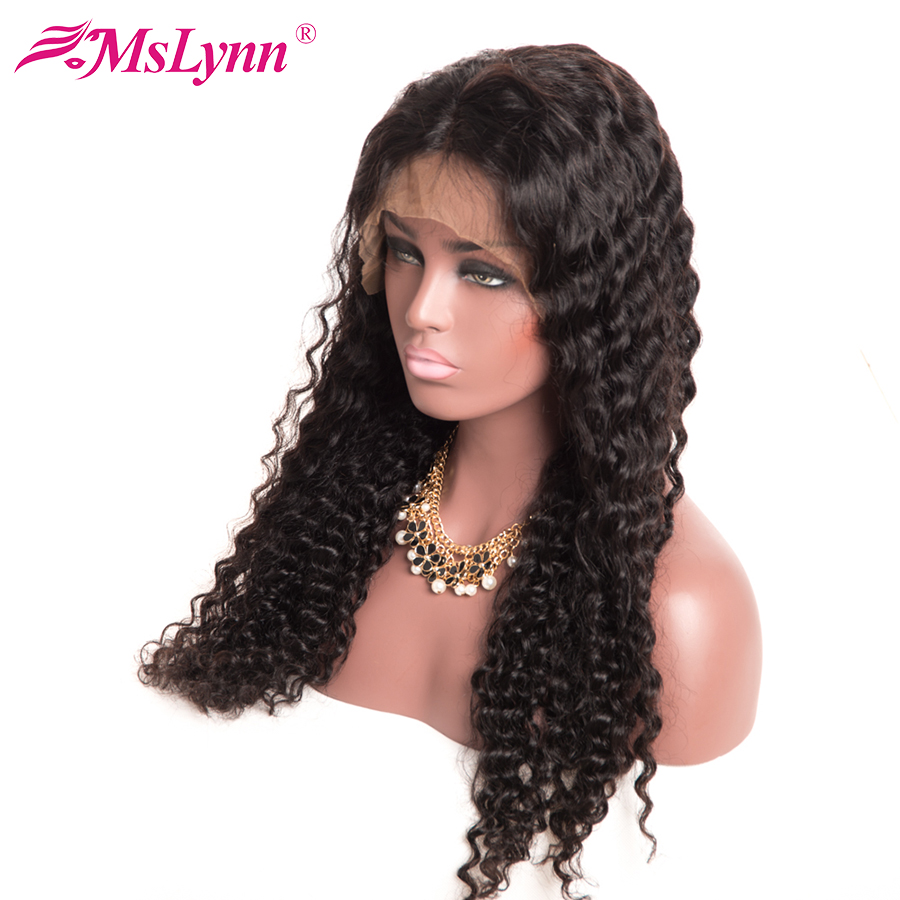 Mslynn Brazilian Deep Wave Full Lace Wig For Black Woman Non-Remy 10″-24″ Natural Black 130% Density Human Hair Wigs