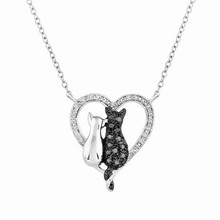 Buy Fashion Black White Plated Simple Lovely Cat Bowknot Animal Pendant Necklace Women Party Jewelry Best Valentine's Day Gift for $1.69 in AliExpress store