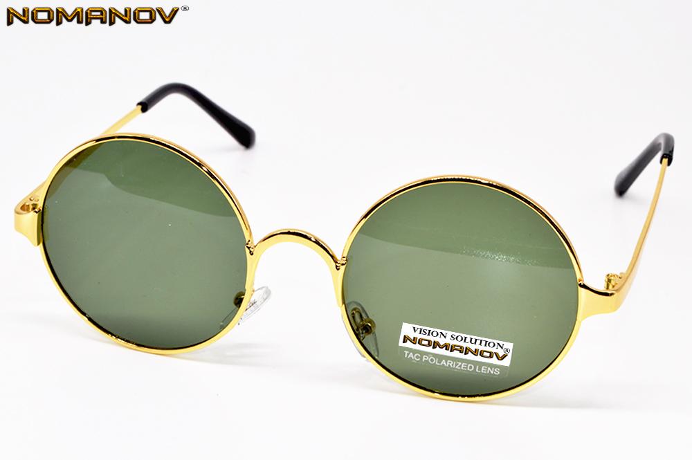 = NOMANOV BRAND = classical Round Retro polarized men women sunglasses High Quality Alloy Gold Frame green lenses sun glasses(China (Mainland))