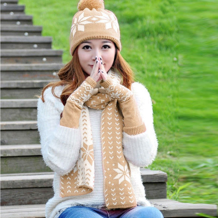 Fashion Winter Hat Scarf Cute Knit Crochet Beanies Cap Hats For Women Warm Scarf And Hat Knitted Hat 5 Colors 51 Worldwide
