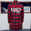 2016 New fashion trend Printing shirts England flannel extended Red plaid long sleeved men casual shirt