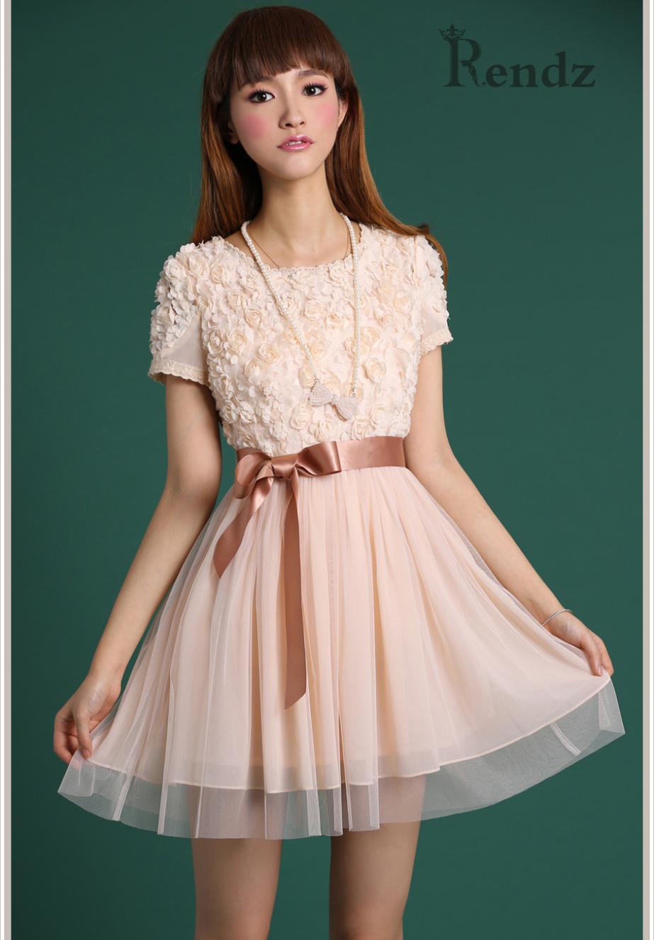 2015 Autumn Fashion Women Rose Flower Lace Dress Pink Slim Sexy Short Sleeve O-neck Mini Cute Dress(China (Mainland))
