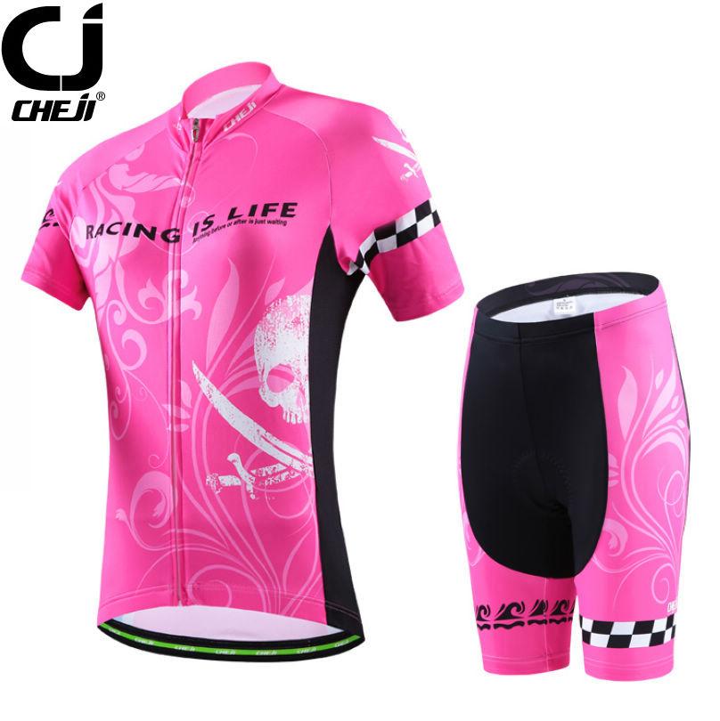 2016 CHEJI Women's Sports Ropa Ciclismo Cycling Jerseys & Shorts Sets MTB Bike Bicycle Clothing Suit Pink