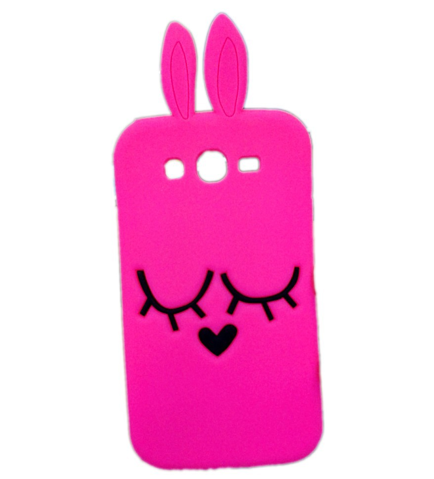 3D Cute Cartoon Hot Pink Rabbit Soft Silicone case Back cover Samsung Galaxy Grand neo i9060 i9062 Duos I9082 - Made In China Centre store