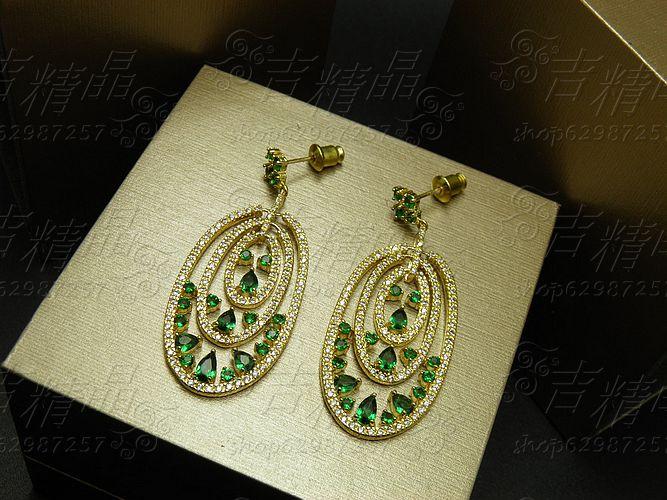 2016 NEW popular Royal vintage luxury elegant full green rhinestone zircon earrings wedding bride formal banquet dress jewelry(China (Mainland))