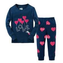 Pyjamas pour filles 2016 nouveau coeur mignon coton bande dessinée pyjamas mode qualité à manches longues pyjamas bébé filles d'anniversaire cadeau(China (Mainland))