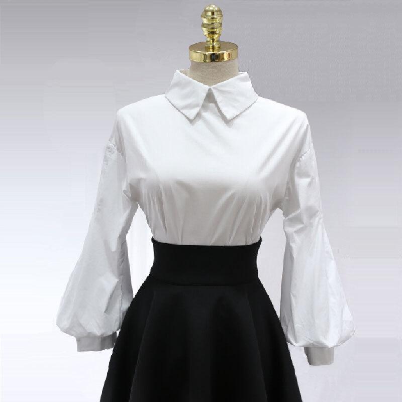 Vintage Lantern Sleeve Blouse 2016 New Fashion Women Turn ...