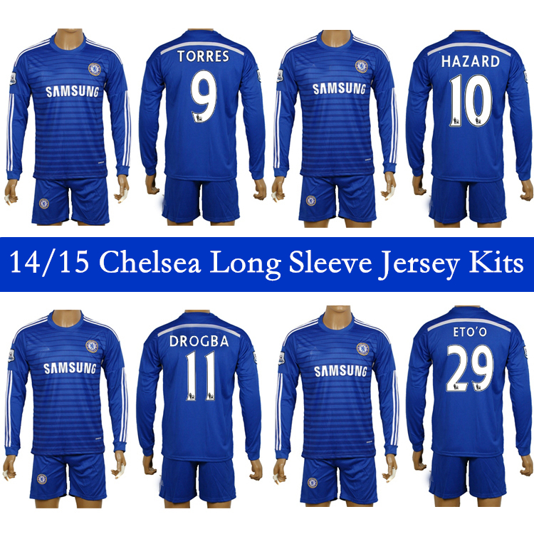 Thai Quality 14-15 COSTA HAZARD Chelsea Long Sleeve Kits Football Sets Camisa Home Away 3RD Jersey Shirt+Pants With Patches(China (Mainland))