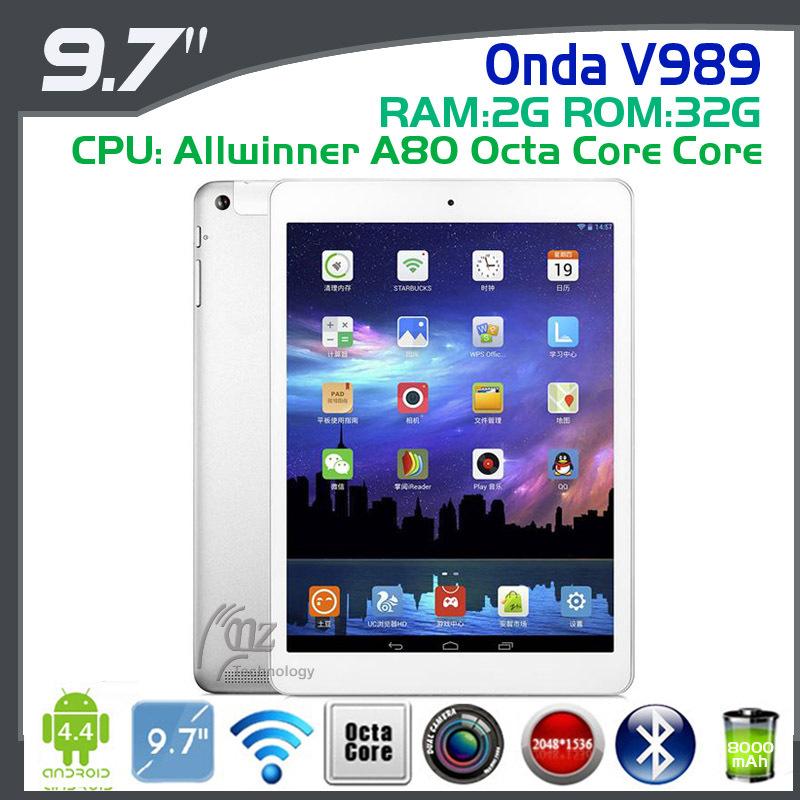 2014 NEW arrival ONDA V989 9.7inch Tablet PC Allwinner A80 Octa Core 2.0Ghz 2GB DDR3L 32GB 2048X1536 Retina HDMI 8.0M AF Cam(China (Mainland))