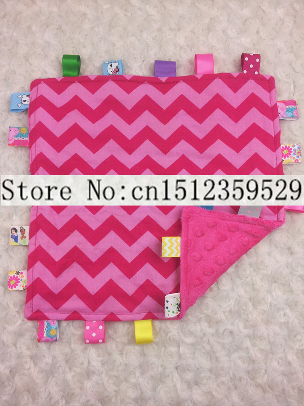 FREE SHIPPING wholesale 8pcs/lot baby taggie blanket hot pink dot minky blankets Security Blanket hot pink chevron comfort towel(China (Mainland))