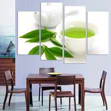 Buy Wall Art 4 Piece Canvas Kitchen Modern Painting Green Tea Painting Home Art Picture Paint Canvas Prints Decor Poster Unframed for $11.30 in AliExpress store