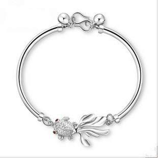 AAA 100% Sterling Silver 925 Jewelry Little Fish Silver Bracelet Bracelets & Bangles Top Quality!! Free Shipping