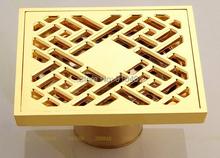 Luxury Golden Brass Floor Drain Art Carved Suquare Grate Wast Bath Shower Drain(China (Mainland))