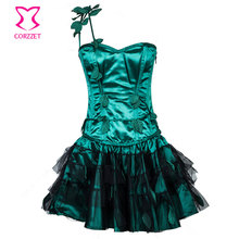 Green Leaf Appliques Burlesque Corset Dress Plus Size Waist Training Corset Steel Bone Lolita Dress Sexy Gothic Outfits Costume
