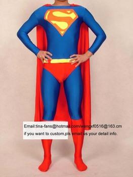 High quality Performance children/adults clothing Super-man style costume Halloween hero cartoon costume Free shipping+custom