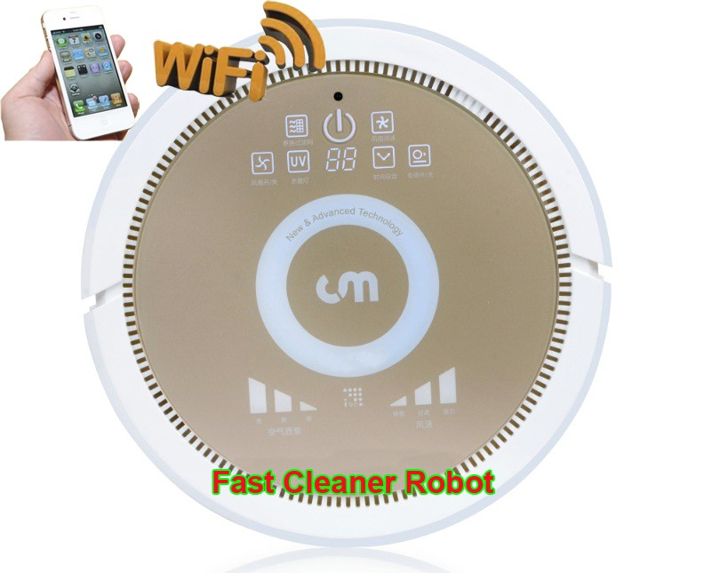 Robot Vacuum Cleaner with Newest WIFI APP Smartphone Control,Working with Air Purifier makes Fresh Air for your Baby and Family