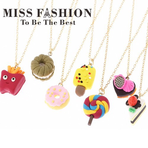 Girls Necklace Jewelry Fashion Children Cute Food Heart Cookie Cake Heart Ice Cream Chips Pendant Necklace for Girls 2015(China (Mainland))