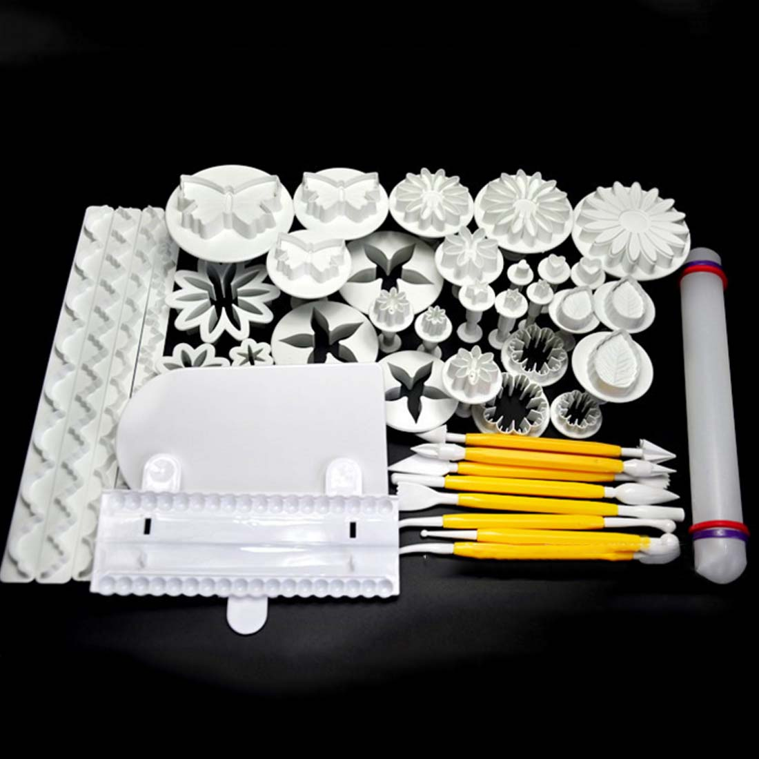 new 49pcs flower fondant cake icing cutters pastry decorating tools on