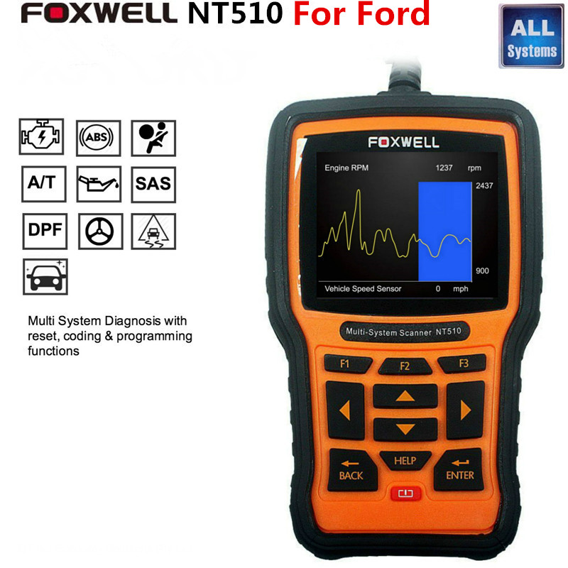 Foxwell NT510 Automotive Scanner For Ford VCM IDS Focus F150 Momdeo Fiesta Ecosport OBD Diagnostic Tool ABS Airbag SRS Reset(China (Mainland))