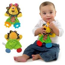 Bebê infantil bonito leão de brinquedo de pelúcia conforto toalha com papel de som e mordedor cão macio apaziguar brinquedo de pelúcia Playmate boneca calma