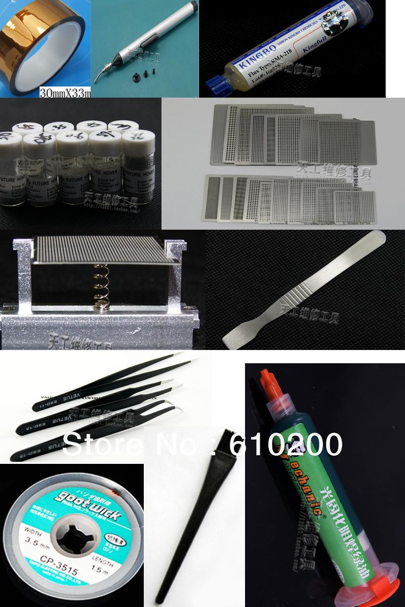 BGA Reballing kit Reballing station Directly Heating Stencils+ 29 PCS universal stencil BGA templates+solder balls+solder paste )