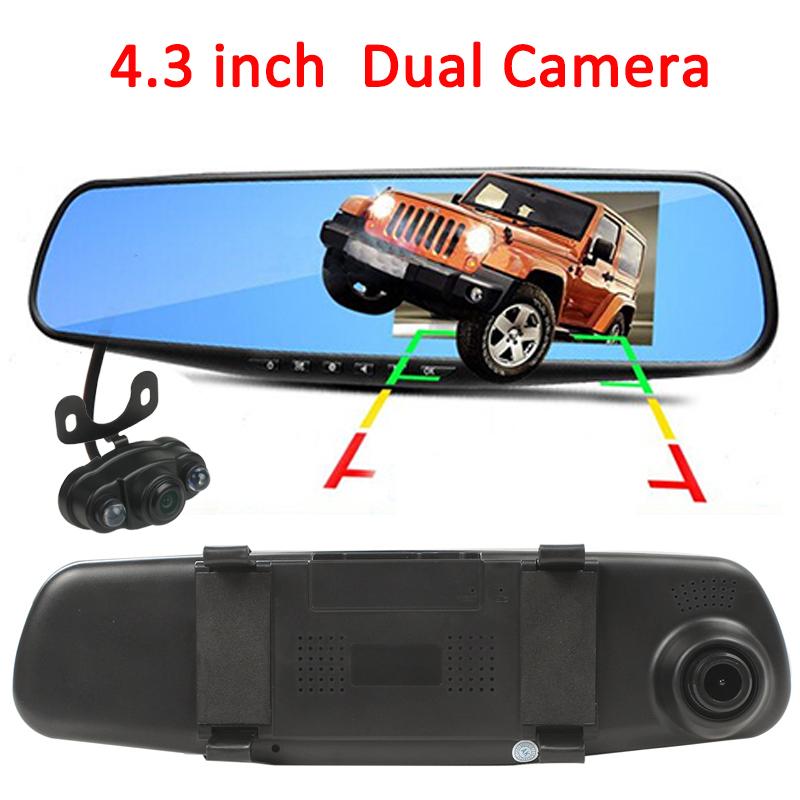 4.3 inch Car Rearview Mirror Camera Monitor 170 Degree Dual Len