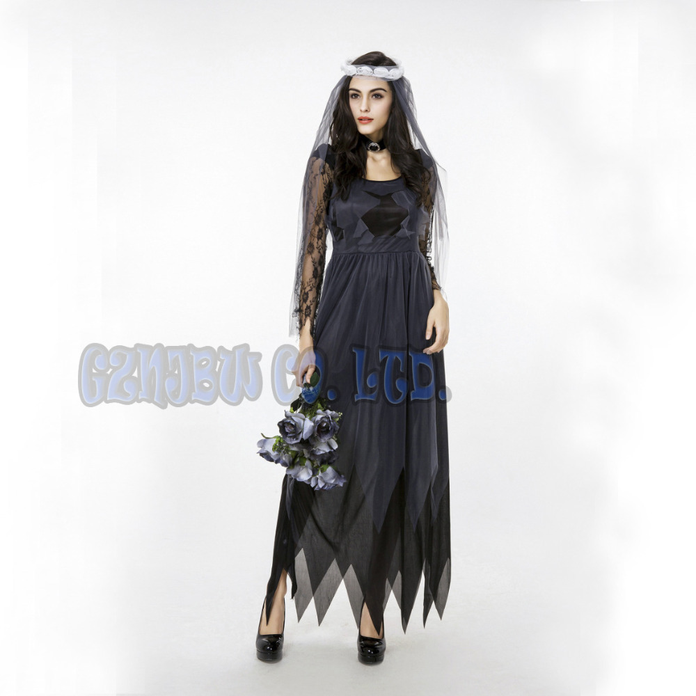adult sexy zombie bride Ghost bride women Fancy Dress Halloween for womens Cosplay Costume party Outfit